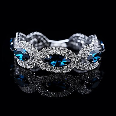 luxe hoge kwaliteit door grote kristal armband (blauw&grijs)