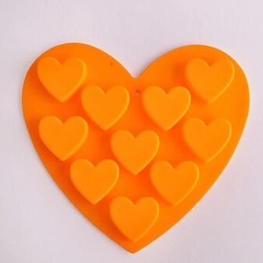 10 buracos moldes forma de coração bolo de gelo geléia de chocolate, silicone 15 × 14,5 × 1,5 centímetros (6,0 × 5,8 × 0,6 polegadas)