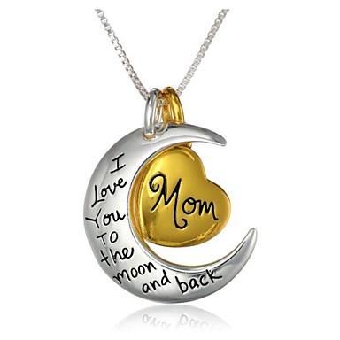 Pentru femei Coliere cu Pandativ Gravat Mama fiica Inimă Semilună Te iubesc până la lună și înapoi Magie Relaţie Modă Bijuterii inițială Aliaj Auriu / Alb Coliere Bijuterii 1 buc Pentru Zilnic Casual