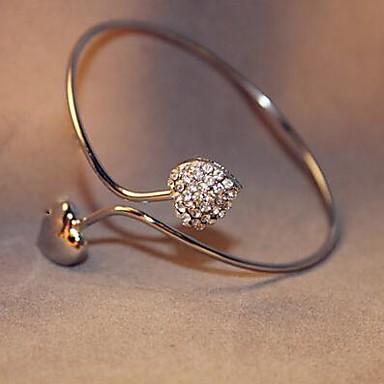 Γυναικεία Χειροπέδες Βραχιόλια Πολυτέλεια Κλασσικό Love Μοντέρνα Προσαρμόσιμη Ανοικτό Προσομειωμένο διαμάντι Κράμα LOVE Καρδιά Κοσμήματα