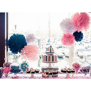 12 inch vloeipapier pom poms huwelijksfeest decor ambachtelijke papieren bloemen bruiloft (set van 4)