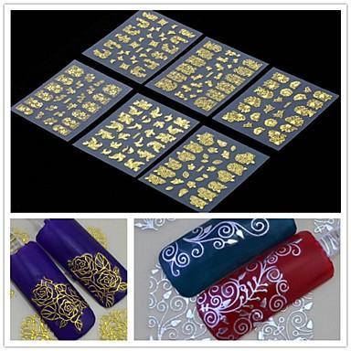 6pcs 3d dourado da flor da arte do prego adesivos