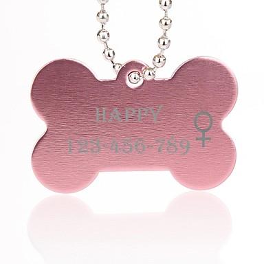 εξατομικευμένο δώρο σχήμα των οστών ασήμι κατοικίδιο όνομα id ετικέτα με αλυσίδα για σκύλους