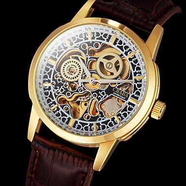 Αντρικά μηχανικό ρολόι Ρολόι Καρπού Αυτόματο κούρδισμα Εσωτερικού Μηχανισμού Δέρμα Μπάντα Πολυτελές Καφέ Καφέ