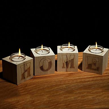 suporte de vela de madeira estilo europeu simplicidade