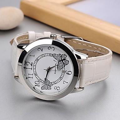 γυναικεία μόδα ρολόι Ιαπωνικά quartz casual ρολόι pu ζώνη πεταλούδα μαύρο λευκό τριαντάφυλλο