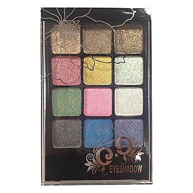 12 Paleta de Sombras Secos Paleta da sombra Pó Normal Maquiagem Esfumada / Maquiagem para o Dia A Dia / Maquiagem de Festa