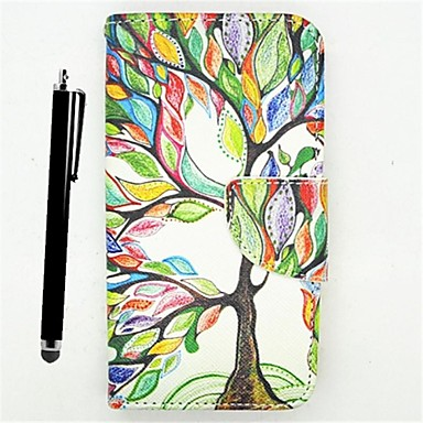 karzea ™ leven boom pu leer full body case painting kaarthouder portemonnee case met stylus voor de samsung grand prime g530h
