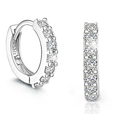 Γυναικεία Ασήμι Στερλίνας Προσομειωμένο διαμάντι Κρεμαστά Σκουλαρίκια - Μοντέρνα μινιμαλιστικό στυλ Ασημί Circle Shape Σκουλαρίκια Για