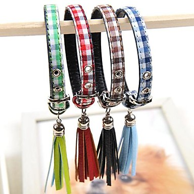 einstellbare PU-Leder Zellmuster Kragen für Hunde (verschiedene Farben, Größen)