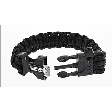 Outdoor Parachute Rope Flint Black Emergency Survival Bracelet