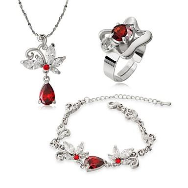 πεταλούδα αγάπης λουλούδια διαμάντι κρεμαστό κόσμημα αλυσοειδή χειροποίητο  κολιέ και δαχτυλίδια σετ κοσμημάτων (κόκκινο άσπρο 9c0f6953512