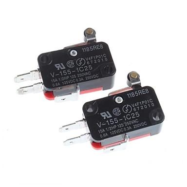 punho de ferro de pressão com limite de curso da roda de plástico micro switch (2pcs)