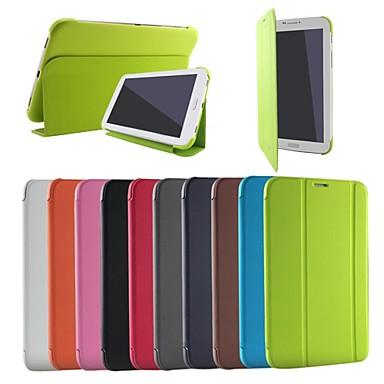 Voor Samsung Galaxy hoesje met standaard / Flip / Origami hoesje Volledige behuizing hoesje Effen kleur PU-leer Samsung Tab 3 Lite