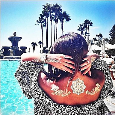 1 pcs Dövme Etiketleri geçici Dövme Çiçek Serisi / Mücevher Serileri Su Geçirmez / Non Toxic / Hawaii body Art / Hawaiian / Lower Back / Waterproof