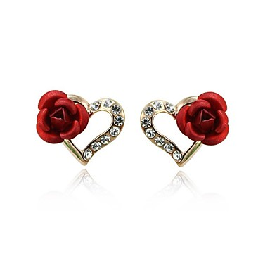 Heart Shape Κουμπωτά Σκουλαρίκια Κοσμήματα Γυναικεία Καρδιά Γάμου Πάρτι Καθημερινά Causal Κρύσταλλο Cubic Zirconia Επιχρυσωμένο 2pcs