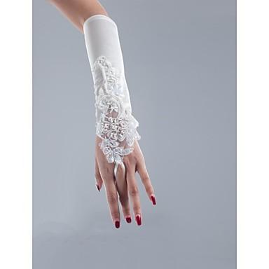 Satijn Netstof Polyester Operalengte Handschoen Klassiek Bruidshandschoenen Feest/uitgaanshandschoenen With Effen