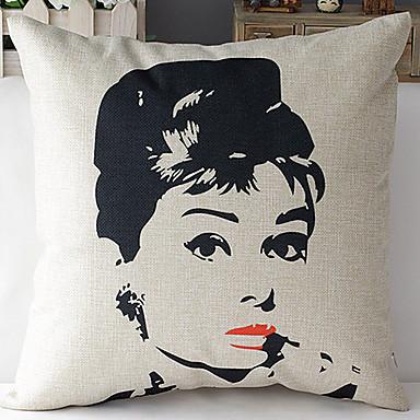 estilo moderno Audrey Hepburn rosto modelado algodão / linho cobertura decorativa travesseiro