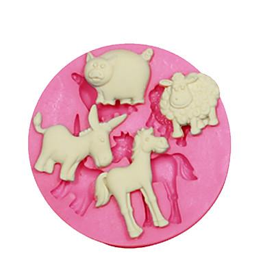 fondan şeker el sanatları takı pmc reçine kil hayvan şekil kalıp koyun domuz eşek at kek dekorasyon silikon kalıp