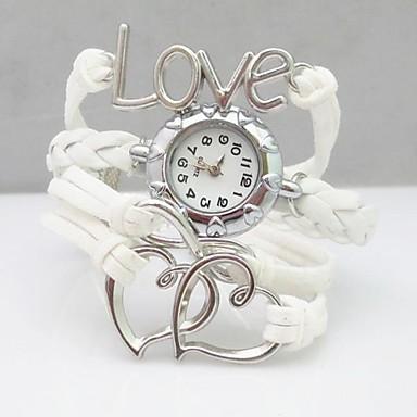 Mulheres Relógio de Moda Bracele Relógio Quartzo PU Banda Heart Shape Boêmio Branco
