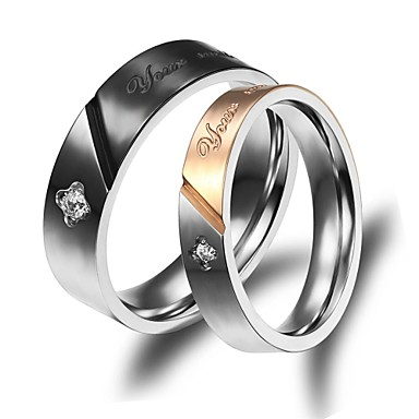 Anéis Casamento / Pesta / Diário / Casual / Esportes Jóias Chapeado Dourado Casal Anéis de Casal 2pçs,5 / 6 / 7 / 8 / 9 / 10Dourado /