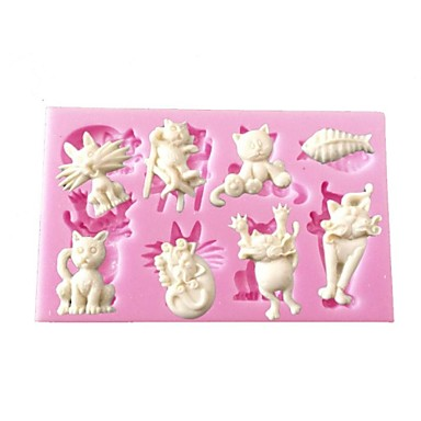 mini cartoon dier kat vis vorm siliconen mal voor cupcake versieren chocolade kunst&ambachten