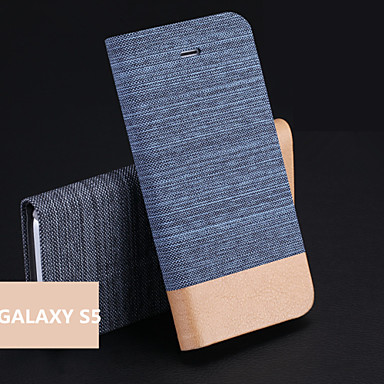 hoesje Voor Samsung Galaxy Samsung Galaxy hoesje Kaarthouder met standaard Flip Volledige behuizing Effen Kleur PU-leer voor S5