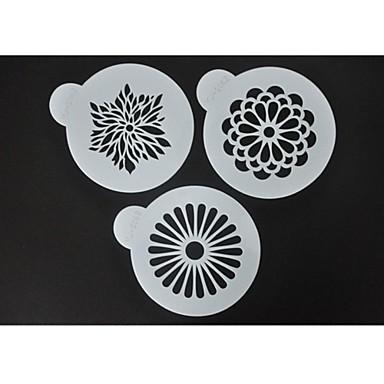 Dört-c kahve şablonlar çiçek fincan kek dekorasyon, kek sprey şablonlar, dekorasyon fondan şablonlar, mutfak şablonlar set