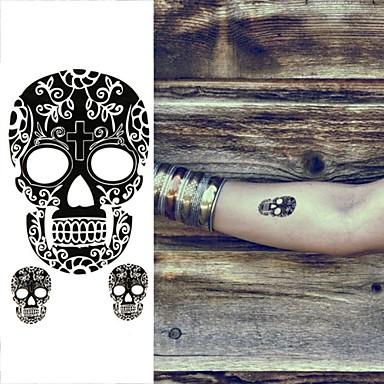 1 pc - 6*10.5cm (2.36*4.13in) - Μαύρο - Facebook Mask Totems Human Skeleton Σειρά Τοτέμ - Αυτοκόλλητα Τατουάζ - Non Toxic/Χαμηλά στην Πλάτη/Waterproof