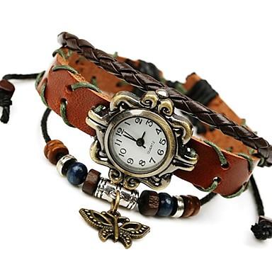 Mulheres Quartzo Relógio de Pulso Bracele Relógio Relógio de Moda Venda imperdível Couro Banda Vintage Marrom