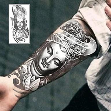 1 - 12*19cm (4.7*7.5in) - Γκρίζο/Μαύρο - Bodhisattva Buddha Άλλα - Αυτοκόλλητα Τατουάζ - Non Toxic/Χαμηλά στην Πλάτη/Waterproof - από Χαρτί για
