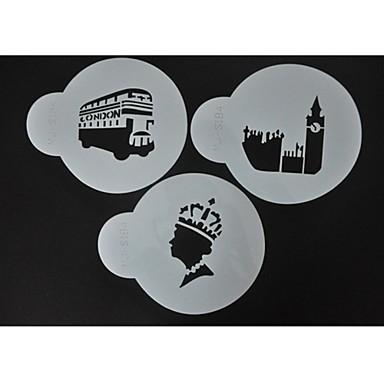tomada de stencils café cookie e decoração, bolo de stencils pulverização decoração