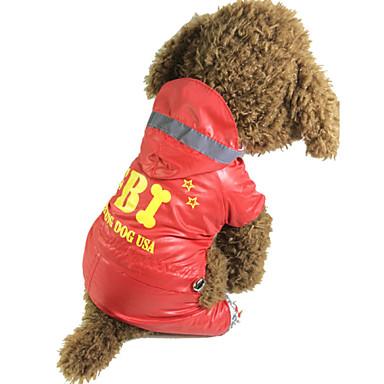 Cachorro Capa de Chuva Roupas para Cães Prova-de-Água Carta e Número Polícia / Militar Preto Vermelho Ocasiões Especiais Para animais de