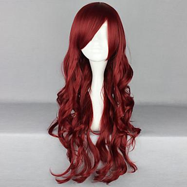 Συνθετικά μαλλιά Περούκες Βαθύ Κύμα Πλευρικό μέρος Με αφέλειες Καρναβάλι περούκα Απόκριες Περούκα Μακρύ Κόκκινο