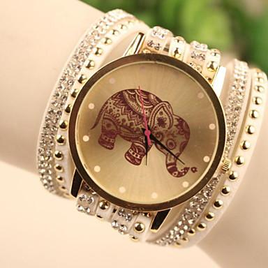Dames Polshorloge Armbandhorloge Modieus horloge Kwarts imitatie Diamond Leer Band armband Cartoon Wit Blauw Rood Goud