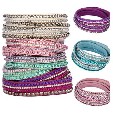 Dames Wikkelarmbanden Kristal Basisontwerp Uniek ontwerp Modieus Meerlaags Kostuum juwelen Kristal Leder Cirkelvorm Sieraden Sieraden Voor