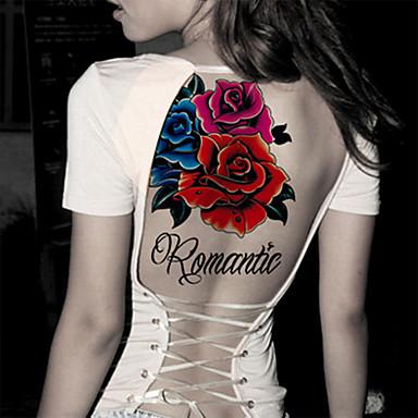 1 pc - 21*14.5cm(8.3*5.7in) - Κόκκινο/Πολύχρωμο - Sexy Flower Σειρά Λουλουδιών - Αυτοκόλλητα Τατουάζ -Non Toxic/Φυλετικό/Χαμηλά στην