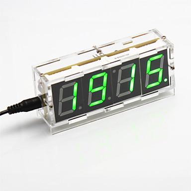 diy 4-cijferige zeven-segment display digitale lichtregeling bureauklok kit (groen licht)
