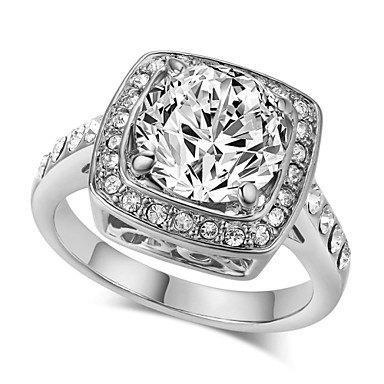 Maxi anel Cristal imitação de diamante Liga Moda Jóias de Luxo Prata Dourado Jóias Casamento Festa 1peça