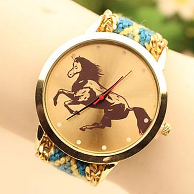 Mulheres Relógio de Moda Relógio de Pulso Relógio Elegante Quartzo Náilon Banda Azul Dourada