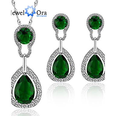 Mulheres Chapeado Dourado Conjunto de jóias Brincos / Colares - Elegant / Fashion Verde Conjunto de Jóias Para Festa / Ocasião Especial /