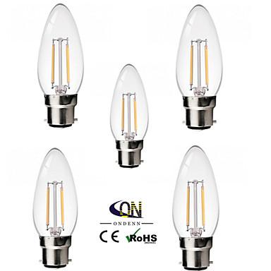 b22 led gloeilampen c35 2 cob 200lm warm wit 2800-3200k dimbaar ac 220-240 ac 110-130v