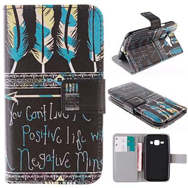 Para Samsung Galaxy Capinhas Porta-Cartão / Com Suporte / Flip / Estampada Capinha Corpo Inteiro Capinha Pena Couro PU Samsung J1