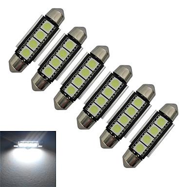 jiawen 6pcs 1.5w 80-90 lm 차 빛 독서 빛 장식 조명 4 led smd 5050 차가운 흰색 dc 12v