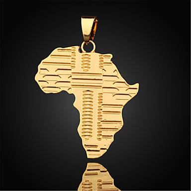 Homens Chapeado Dourado Colares com Pendentes Pingentes - Chapeado Dourado Mapa Colar Para Diário Casual Esportes