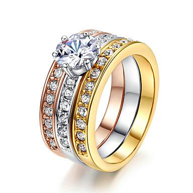 Mulheres Anel de declaração Cristal Imitações de Diamante Liga Clássico Fashion Casamento Festa Jóias de fantasia