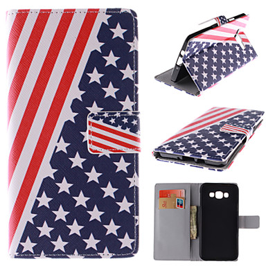 Para Samsung Galaxy Capinhas Porta-Cartão / Com Suporte / Flip / Estampada / Magnética Capinha Corpo Inteiro Capinha Bandeira Couro PU