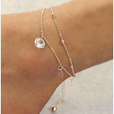 Προσομειωμένο διαμάντι Βραχιόλι αστραγάλου - Γυναικεία Χρυσό Διπλή στρώση Βραχιόλι αστραγάλου Για Χριστουγεννιάτικα δώρα / Καθημερινά /