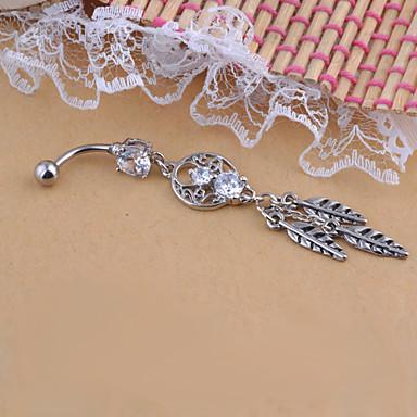 Κρυστάλλινο Δαχτυλίδι / Δακτύλιος της κοιλιάς - Κρύσταλλο, Προσομειωμένο διαμάντι Φτερό Μοναδικό, Μοντέρνα Γυναικεία Ασημί Κοσμήματα Σώματος Για Χριστουγεννιάτικα δώρα / Καθημερινά / Causal
