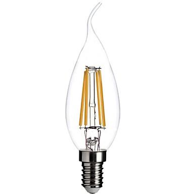 1pc 400 lm E12 LED Glühlampen CA35 4 LED-Perlen COB Abblendbar / Dekorativ Warmes Weiß 110-130 V / RoHs